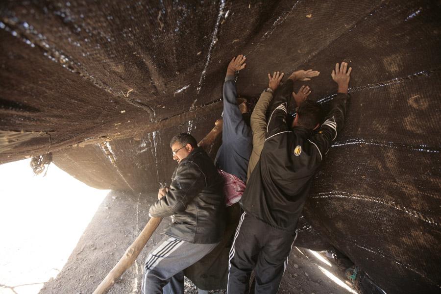 Vendredi 4 avril 2008 - Mariage de 'Ali Hussein el-Massa'eid - Montage des tentes après la tempête de nuit - près de el-Safawi - Jordanie