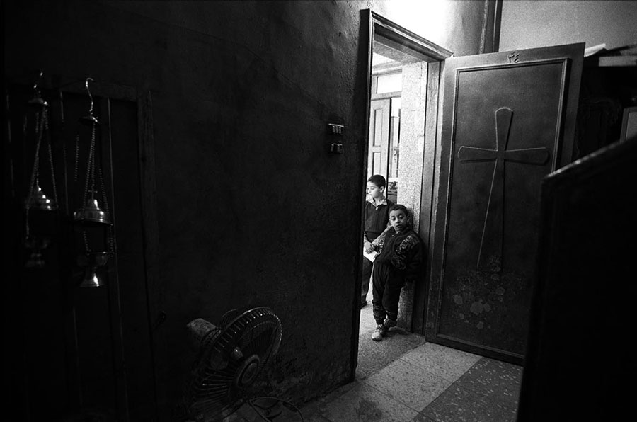 Sacristy of the church. Ragpickers district, Moqattam, Cairo - Mar 2000
