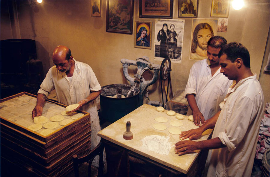 Making host bread, St Georges church. Heliopolis, Cairo - Sep 1998