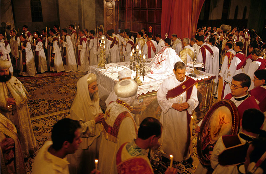 Procession at Easter mass, St Marc's Cathedral. Abbasseya, Cairo - Apr 1997