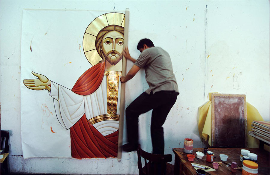 Isaac Fanus icons painter's workshop. St Marc Cathedral, Abbasseya, Cairo - May 2003