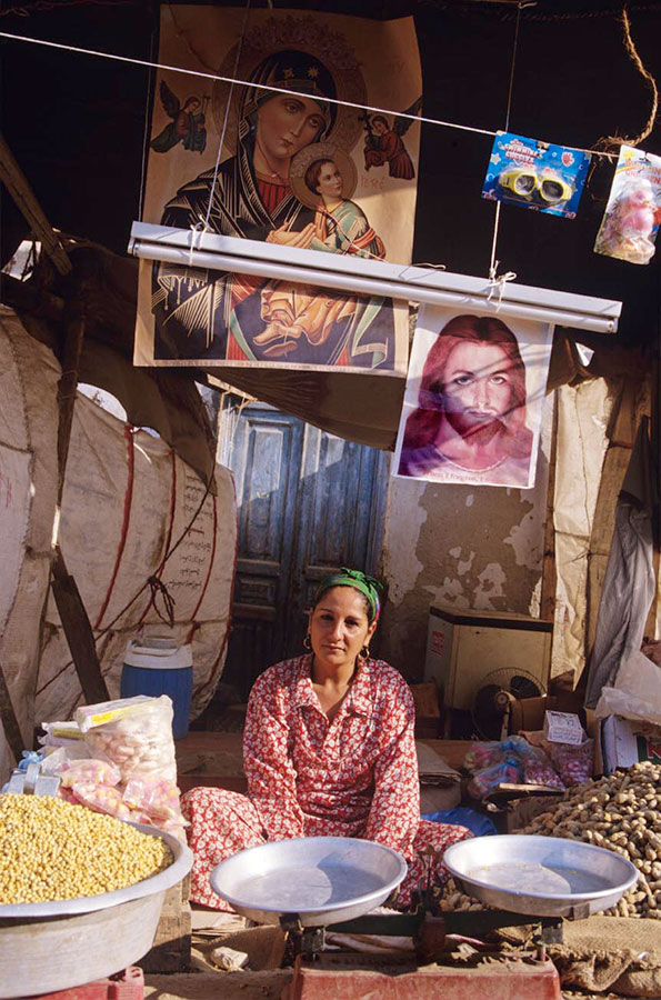 Stallholder, Holy Virgin's pilgrimage fair. Deir Dronka, near Assiut - Aug 1998