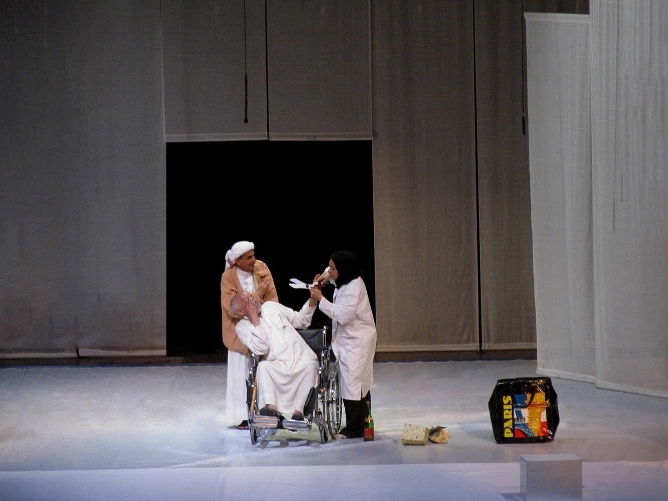 "Molière's ""Le Malade imaginaire"" in Arabic - Directed by Adel Hakim - National Theatre in Sanaa. Coproduction Théâtre des Quartiers d'Ivry (France) - French Cultural Centre in Sanaa -Ministery of Culture, Yemen."